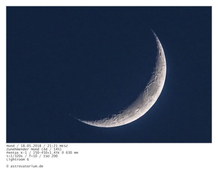 Zunehmender Mond (4d/14%) / 18.05.2018