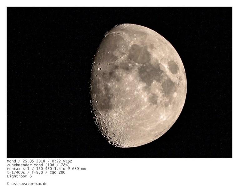 Zunehmender Mond (9d/67%) / 23.05.2018