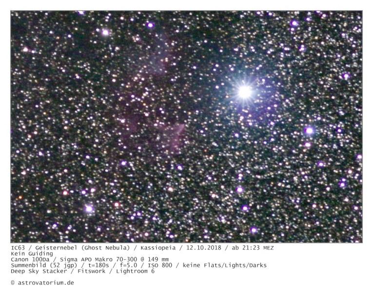 181012 Geisternebel Kassiopeia IC63 (Ausschnitt)