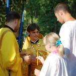 Закрытие казачьей смены в детском лагере, служение Литургии