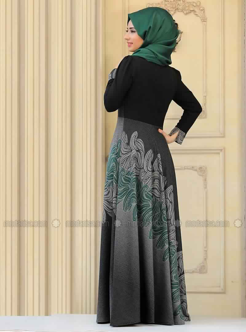 Bien-aimé Modèle Très Élégant De Robe Vert Pour Femme Voilée Style À La Turque BW47