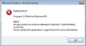 Runtime error r6034