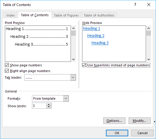 Option table de contenu dans Word