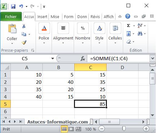 Les fonction dans Microsoft Excel