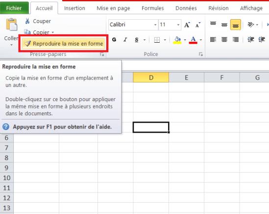Excel, reproduire la mise en forme