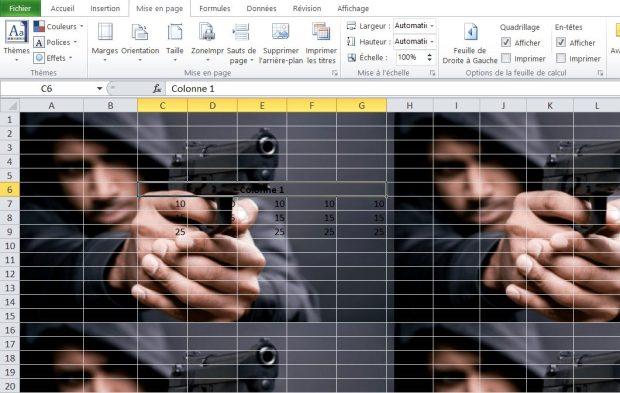 Image d'arriére plan dans Excel
