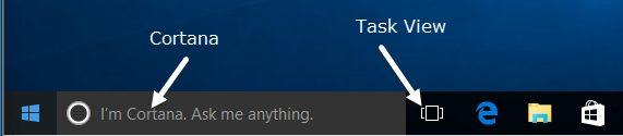 Cortana et barre des taches