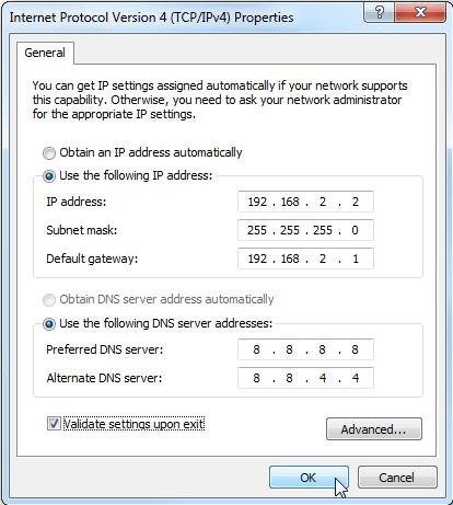 Changer paramètres adresse IP