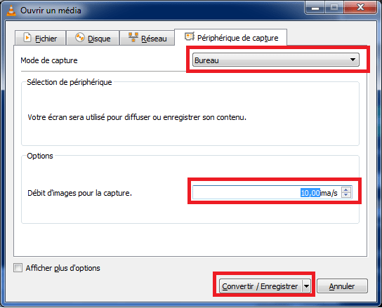 VLC,enregistrer vidéo, options