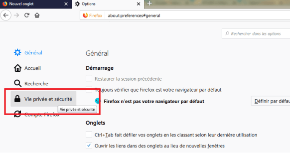 Firefox - Vie privée et sécurité