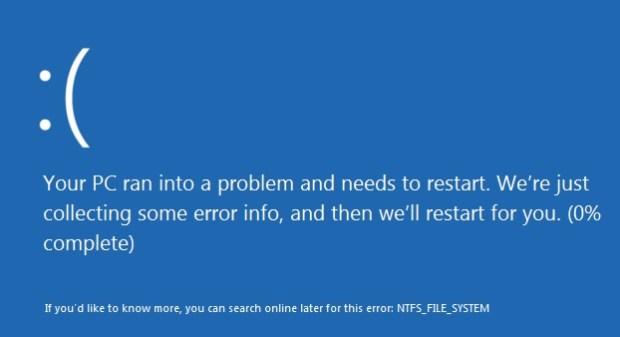 Corriger l''erreur NTFS_FILE_SYSTEM