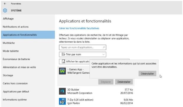 désinstaller applications inutiles dans Windows 10