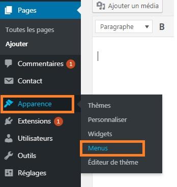 WordPress - ajouter pages au menu