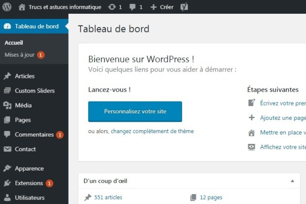 panneau d'administration WordPress