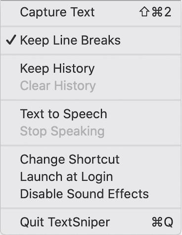 Textsniper - menu