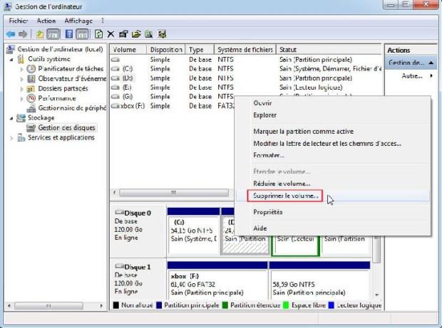 Windows 10 - supprimer partition - gestion des disques