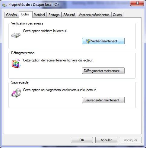 Windows 10 - propriétés disque dur