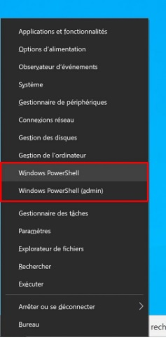 Windows 10 - ouvrir PowerShell