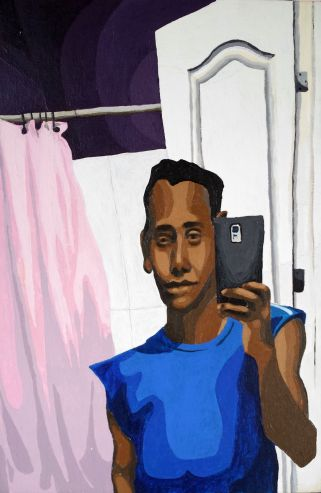 We see a reflexion of himself, looking to himself and recording himself with his electro-eye. The bathroom gives the context of intimacy. We can notice in his face that hi feels confortable about the whole situation.