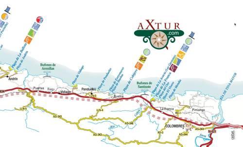 mapa playas asturias Ribadesella- Colombres