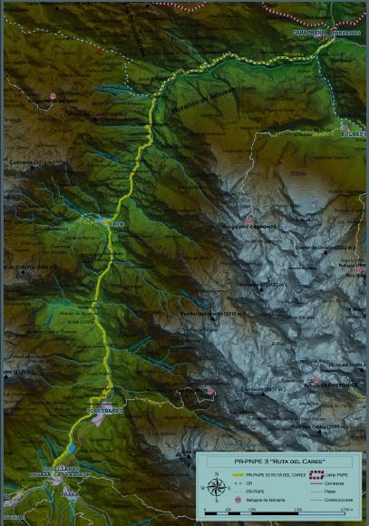 Mapa detallado ruta del Cares