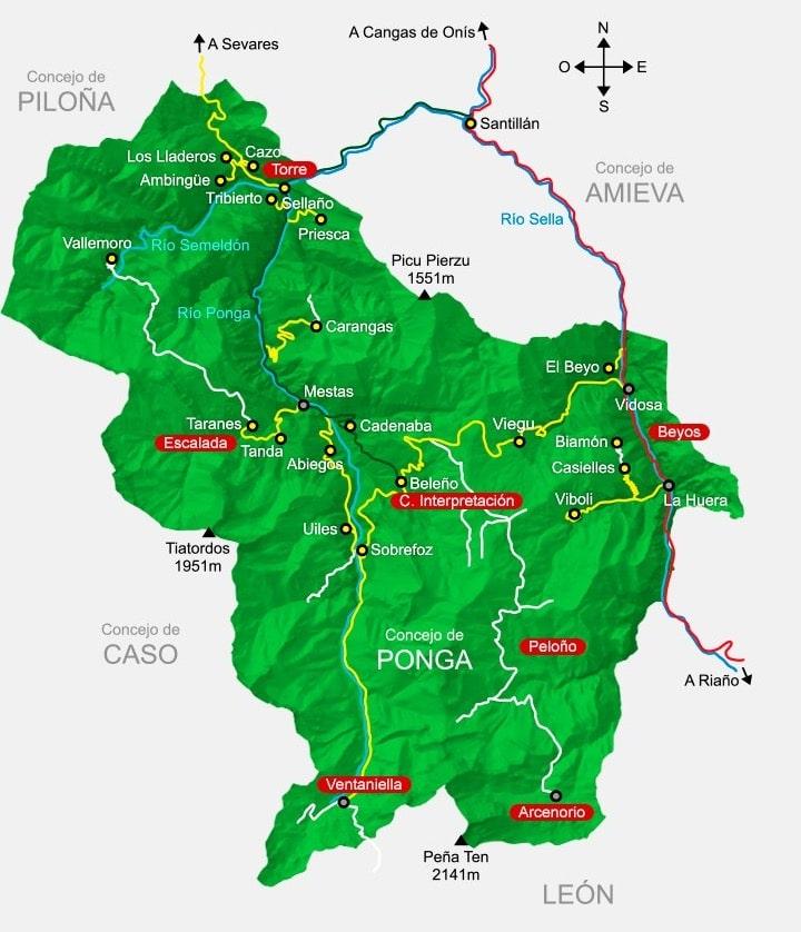 mapa de Ponga. derechos: Asociación Tiatordos.