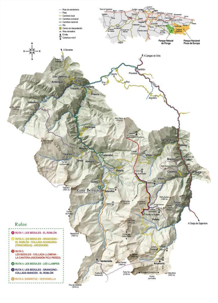 Rutas en Bici en Ponga mapa