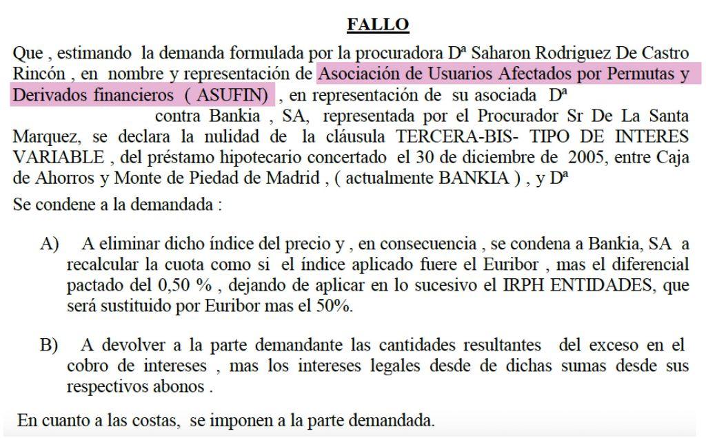 IRPH Asufin Gana a Bankia