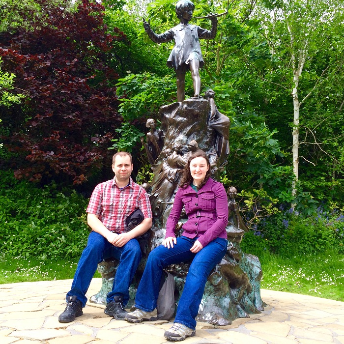 Sitting with the Peter Pan Statue