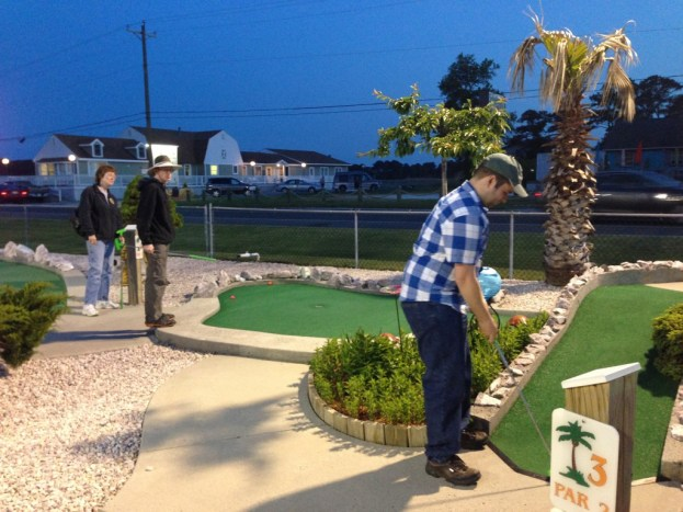 Micah, my brother, and Aunt indulge me in a game of mini-golf!