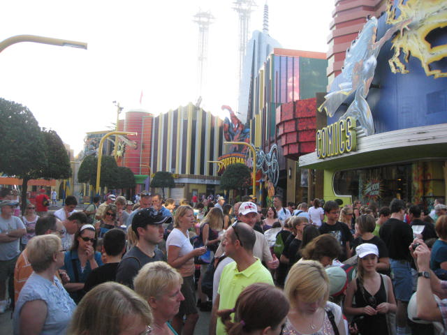 Crowd waiting until park officially opened