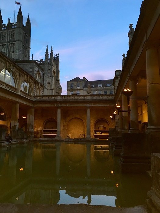 Roman Baths Torchlit Summer Evening