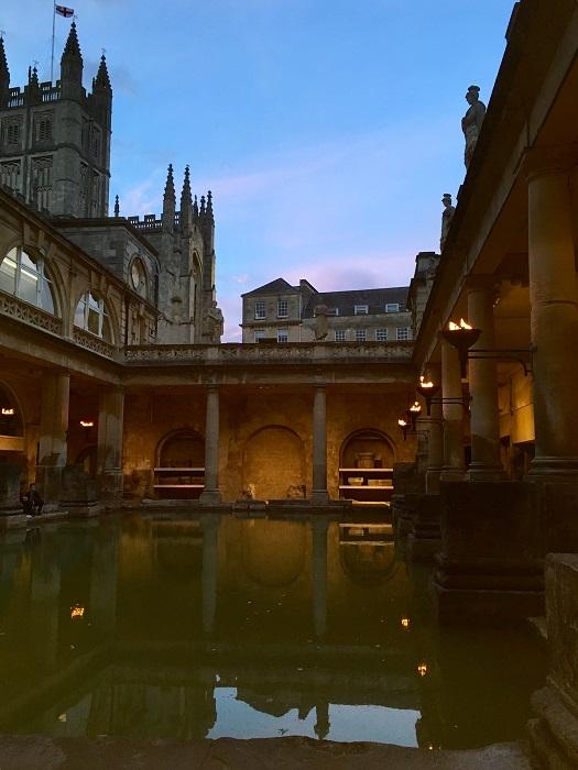 Roman Baths Torchlit Summer Evening