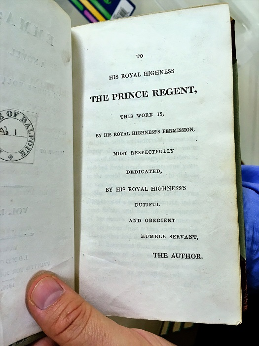 Jane Austen Emma Dedication to Prince Regent George IV