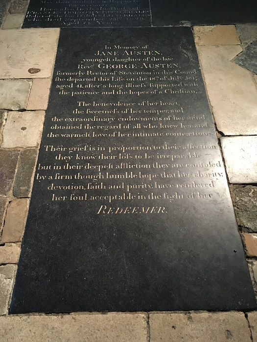 Jane Austen's grave at Winchester Cathedral