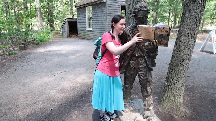 Walden Pond statue of Thoreau