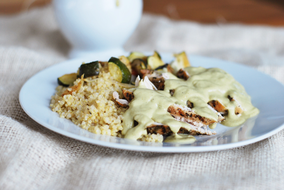 Chicken with Avocado Goat Cheese Sauce
