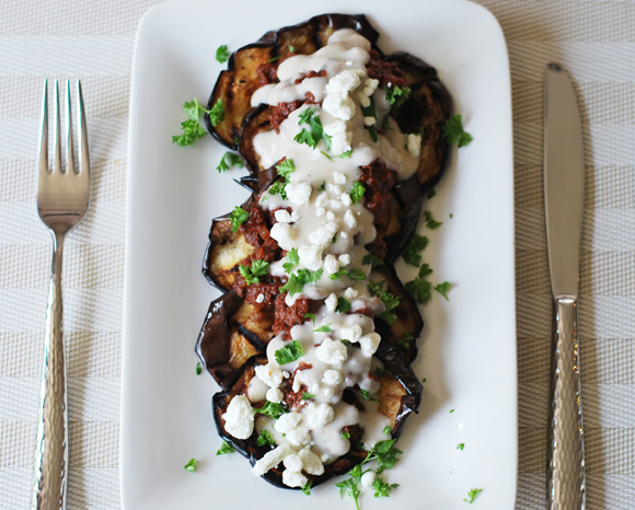 Spiced Ground Beef over Grilled Eggplant