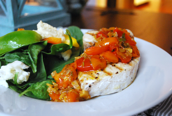 Grilled Swordfish w/ Garlic Basil Tomatoes