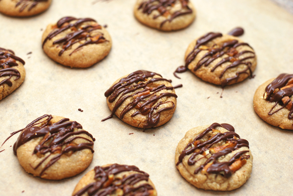 Peanut Butter Pretzel Cookies with Chocolate Drizzle