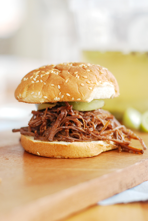 Shredded Beef Brisket With Pickled Green Tomatoes