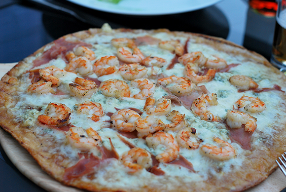 Shrimp, Prosciutto, Fig & Blue Cheese Pizza