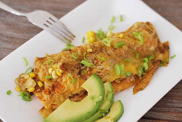 Salmon Green Chili Enchiladas
