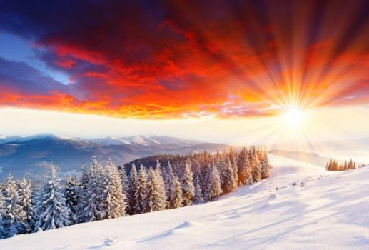 Majestic sunset in the winter