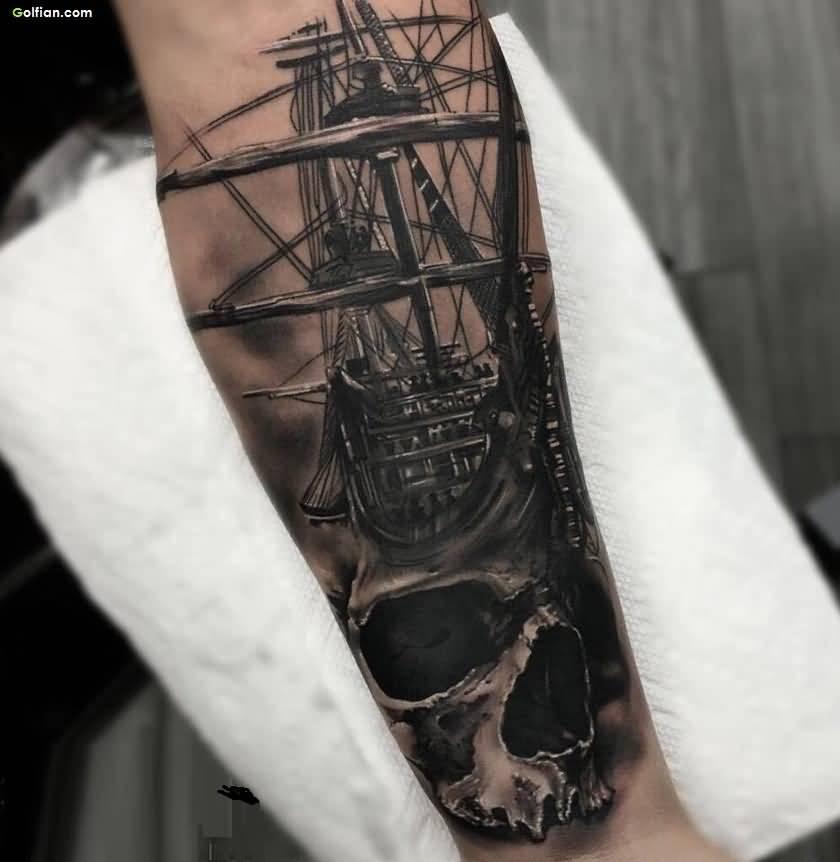 Black-Ink-Forearm-Skull-Ship-3d-Tattoo-Design-Forearm