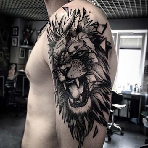 lion shoulder tattoo