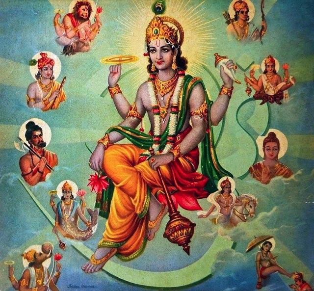 الإله الهندوسي فيشنو مُحاط بالـ أفاتار المنسوخ عنه