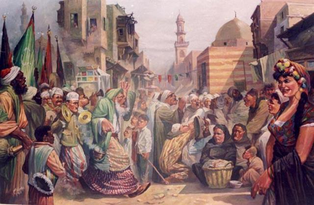 لوحة تشكيلية عن الحارة المصرية للفنان محسن حسن أبو العزم