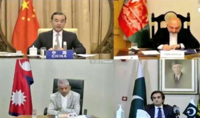 مؤتمر وزير الخارجية الصيني وانغ يي مع نظرائه في أفغانستان وباكستان ونيبال