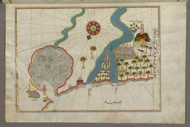 خريطة لبيري رئيس تظهر مصب نهر النيل مع مدينتي رشيد والبرلس على كل جانب